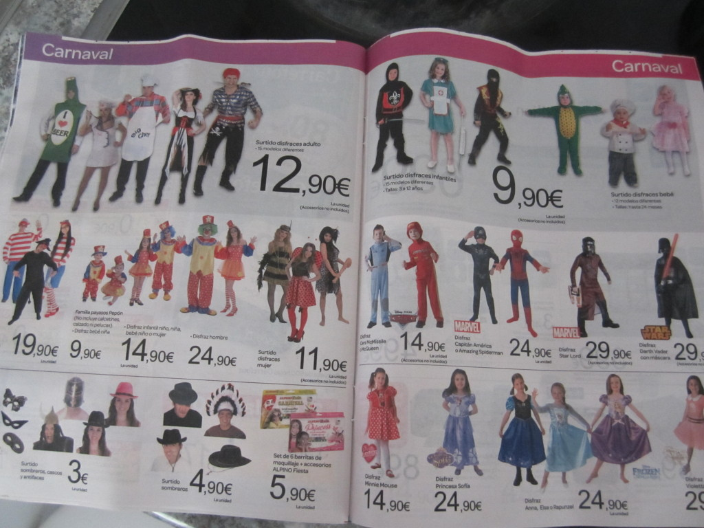 Ad with Carnaval costumes.