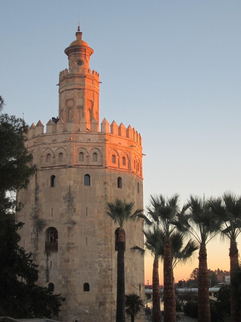 Torre del Oro at sunset in Seville Spain