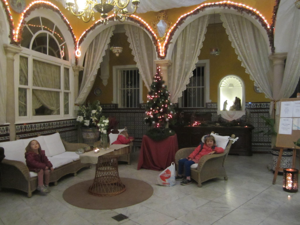 Front lobby of the Hostal Sierpes at Christmas